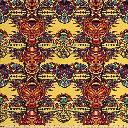 AFRICAN TRIBAL MASKS Fabric Curtain Upholstery Craft Quilting Patchwork Cushion