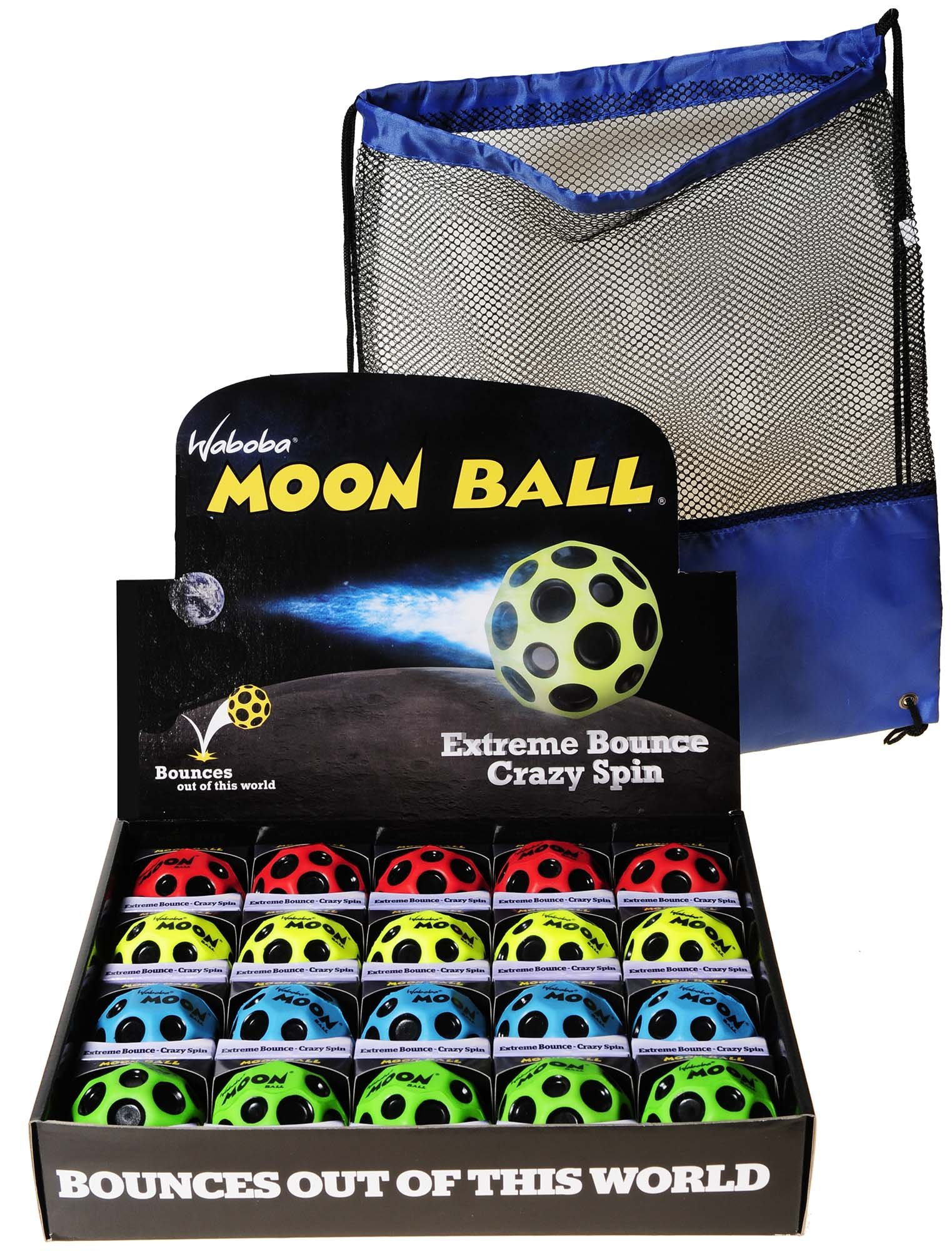 Waboba MOON Extreme Bounce Balls, Bundle of 20, 5 each in 4 Neon Colors, BONUS Blue Nylon-Black Mesh Drawstring Pack, Bundled Items by Waboba (Image #1)