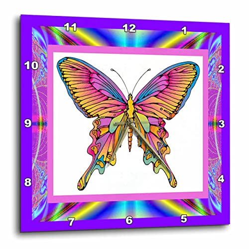3dRose DPP_14923_1 Psychedelic Butterfly Wall Clock, 10 by 10-Inch