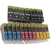 20 komp. Drucker Patronen mit Chip für Canon PGI-525BK CLI-526BK CLI-526C CLI-526M CLI-526Y, 4 x schwarz 4 x photoschwarz 4 x blau 4 x rot 4 x gelb