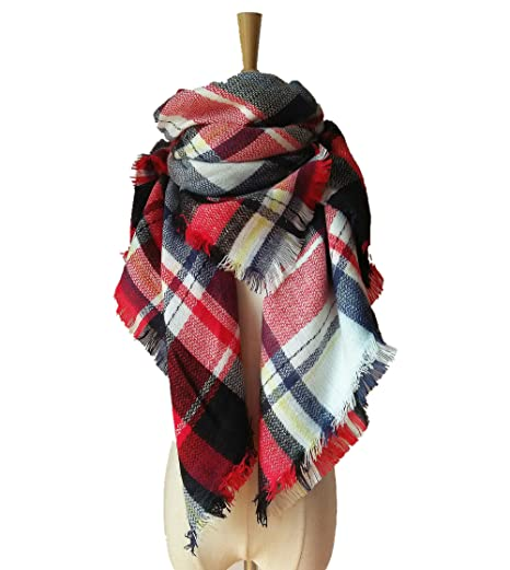 gusuqing Women s Tassels Soft Plaid Scarf Winter Large Blanket Wrap Shawl  Small Grid A15 White Red f63f17865a