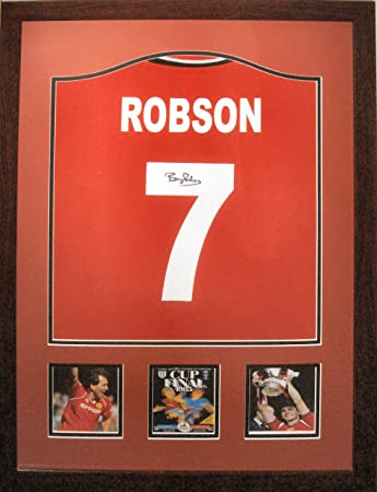 797b0b20a50 Framed Bryan Robson Signed Number 7 1985 FA Cup Final Manchester United  Replica Football Shirt