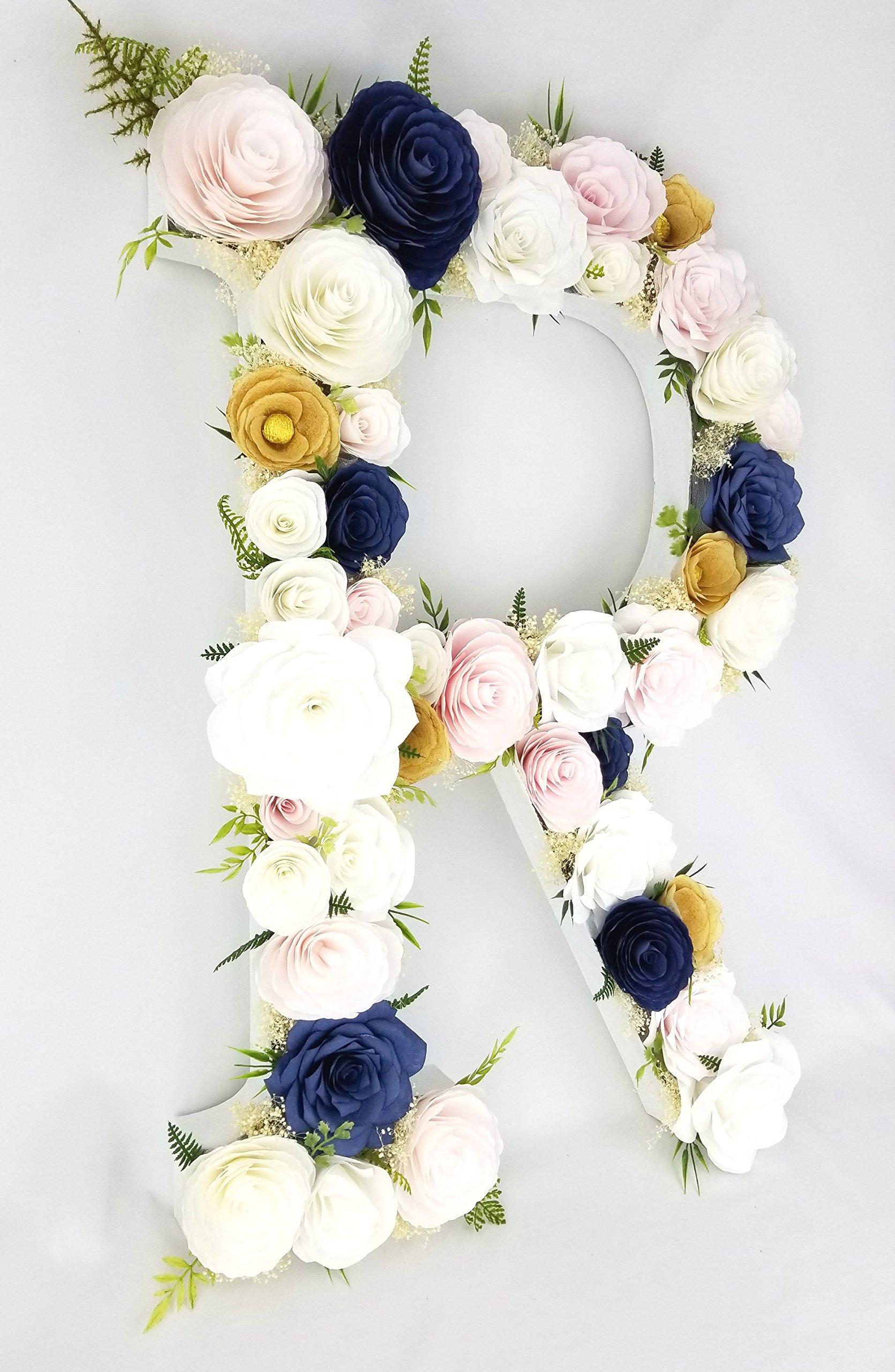 23'' Paper Flower Letter in Blush, gold & navy blue