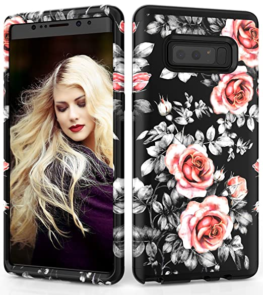 1409f21d1a68 Samsung Galaxy Note 8 Case, Adcoog [Flower] Three Layers Heavy Duty Case for