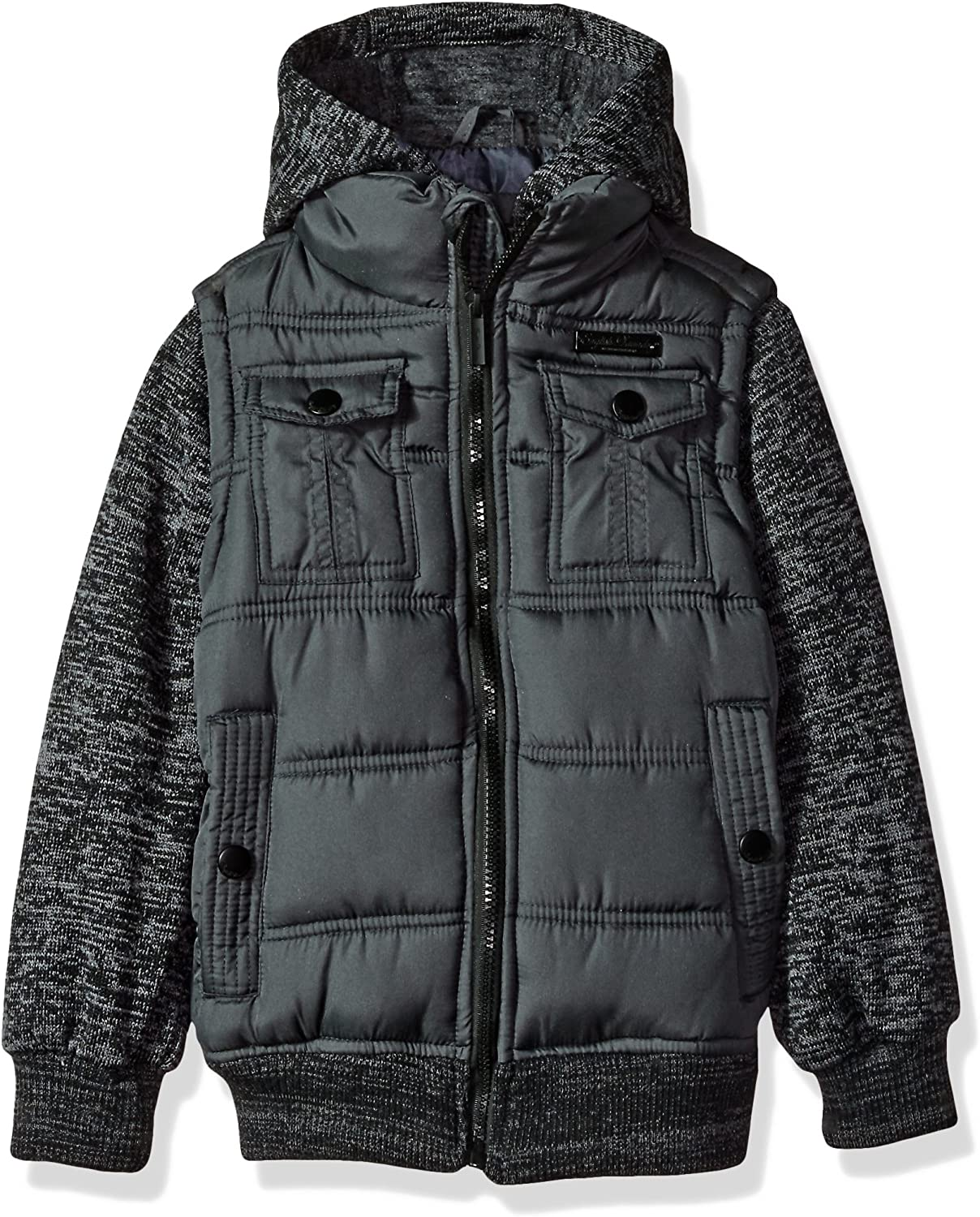 English Laundry Little Boys' Outerwear Jacket (More Styles Available), Quilted Bomber-E267-Charcoal, 5/6