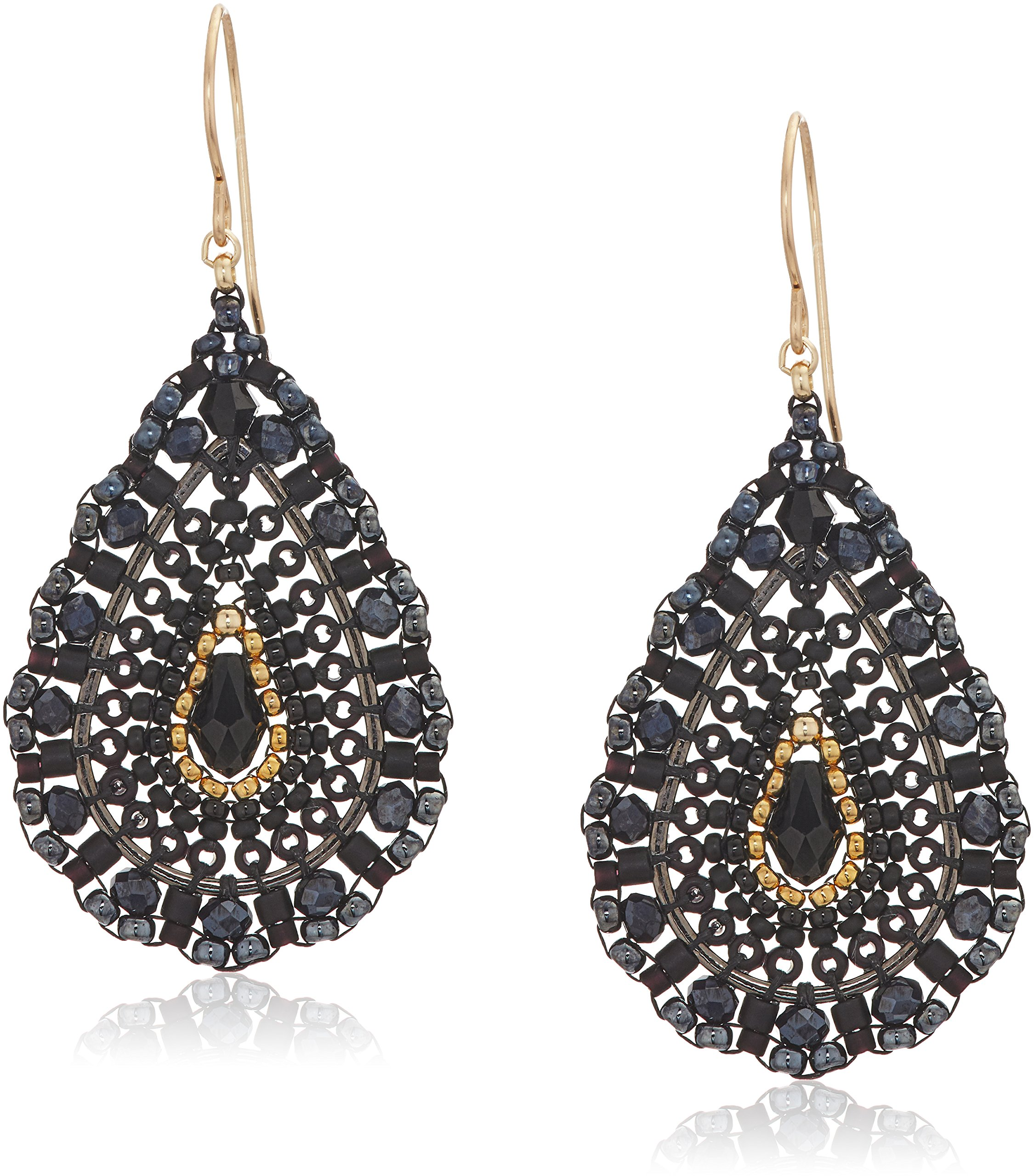 Miguel Ases Women's Faceted Briolette Center Opaque Tear Drop Earrings