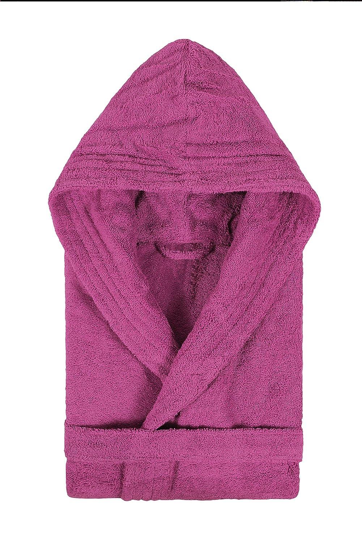 TALLA XX-Large. Textiles Vertrauen Pure - Albornoz con capucha para mujer, color Morado (Ciruela), talla XX-Large