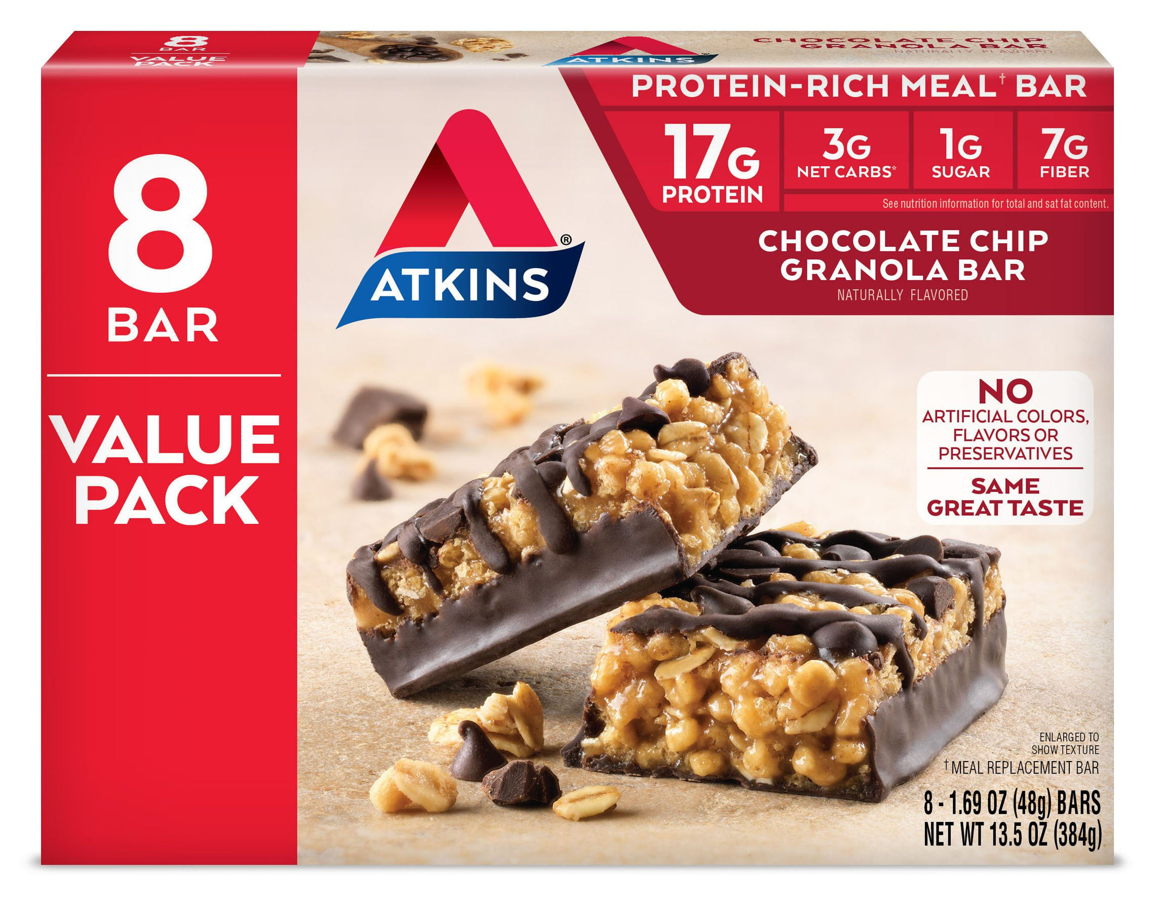 Atkins Protein-Rich Meal Bar, Chocolate Chip Granola, Keto Friendly, 8 Count by Atkins