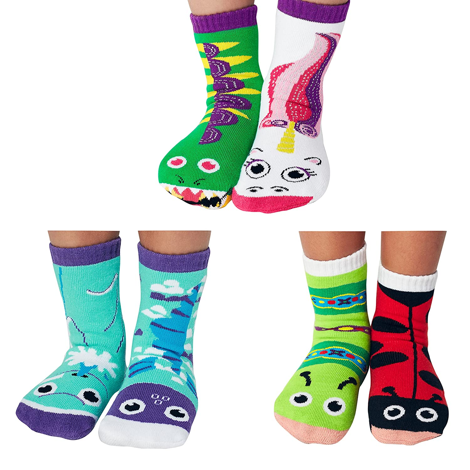 Funky Friends Mismatched Socks Kids Box - Ladybug and Caterpillar, Dragon and Unicorn, Dolphin and Fish Ages 4-8 PS-15a