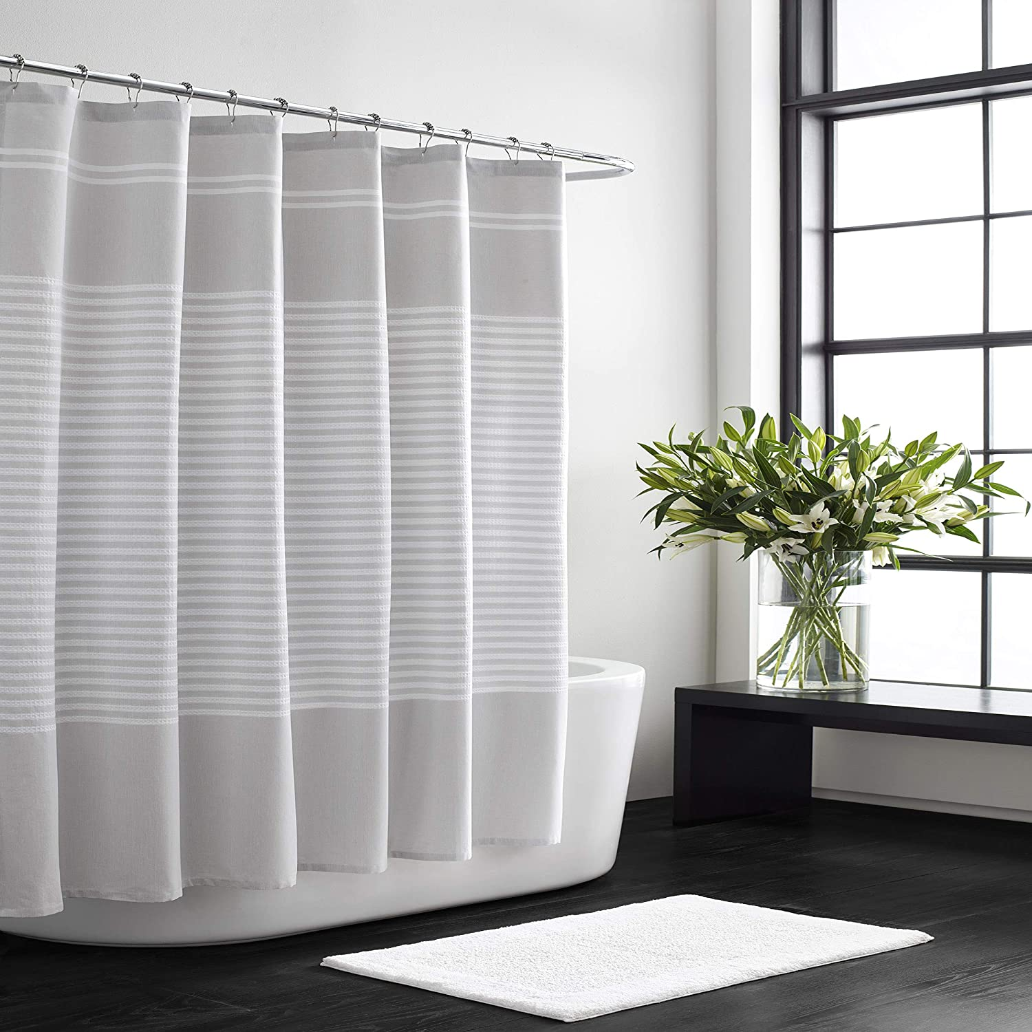 Vera Wang Stripe Collection 100 Cotton Lightweight Durable Shower Curtain Simple And Elegant Style For Bathroom Décor 70 X 72 Seersucker Home Kitchen