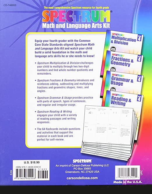 Spectrum math and language arts kit grade 4 spectrum spectrum math and language arts kit grade 4 spectrum 0044222234201 amazon books fandeluxe Gallery