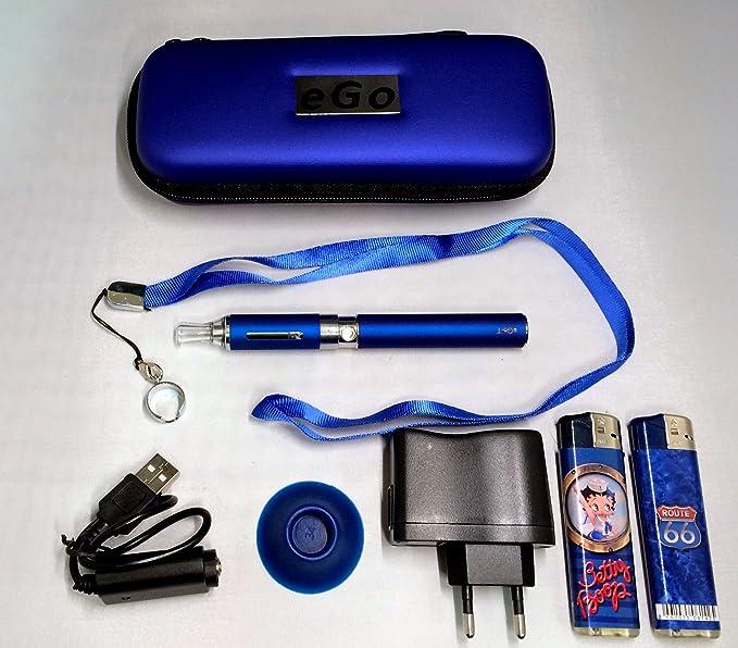 Estuche, Kit completo:(vapeador) cigarrillo electrónico azul eGo CE4+ 900mAh + golgante + regalos: mecheros de coleccion Betty Boop y Route 66: Amazon.es: Salud y cuidado personal