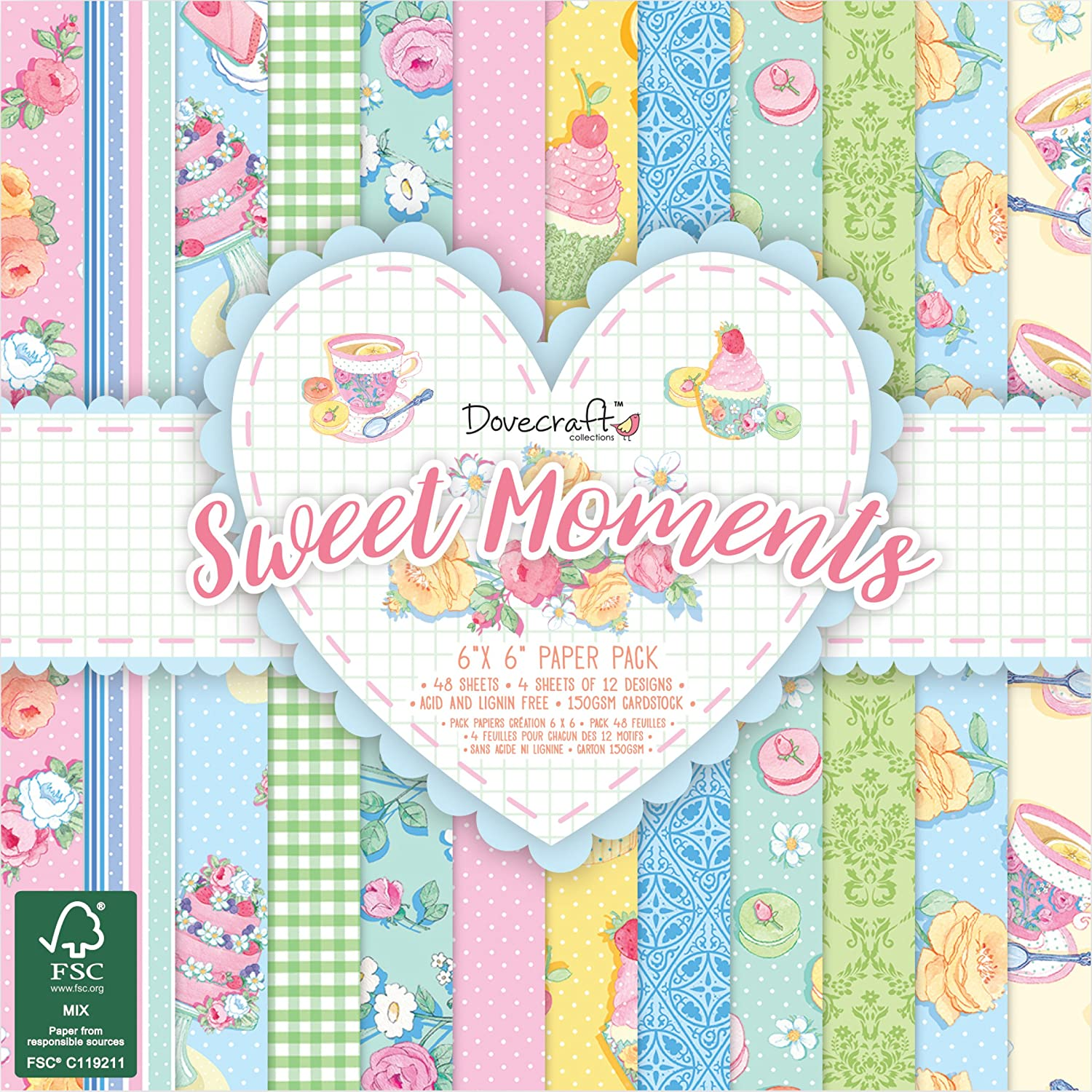"""8 x Papermania Christmas In The Country 6/"""" x 6/"""" Papers Set 2 For Cardmaking"""
