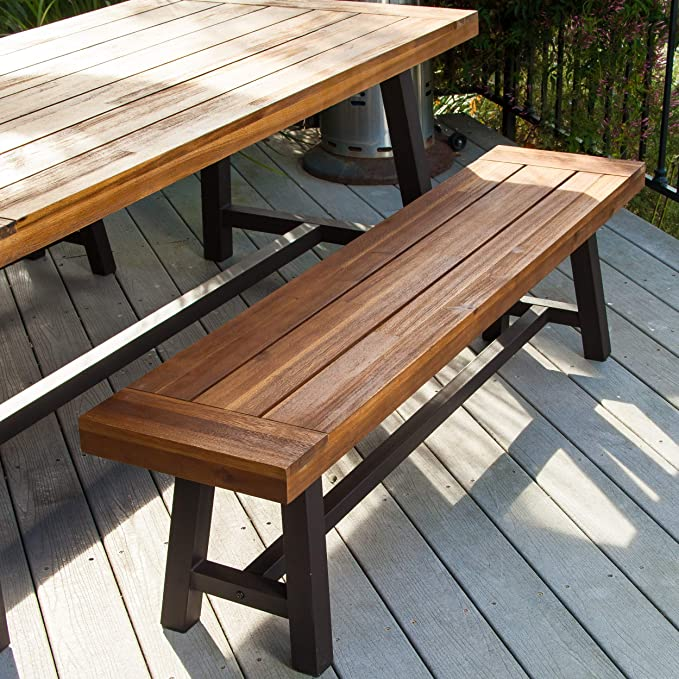 Groovy Christopher Knight Home 298403 Bowman Wood Outdoor Picnic Table Set Perfect For Dining Brown Black Rustic Metal Dailytribune Chair Design For Home Dailytribuneorg