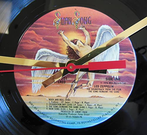 LED Zeppelin Vinyl Record Clock The Song Remains The Same . 12 Wall Clock Made with The Original Record and Ready to Hang.