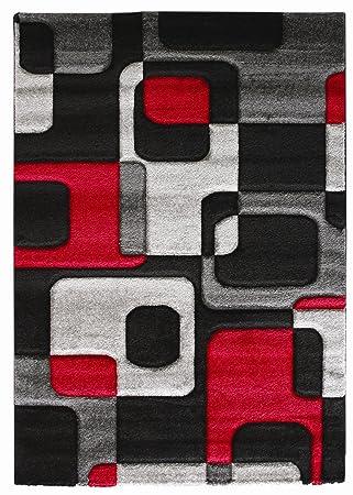 020 alfombra original para salon alfombra moderna rojo y negro alfombra negra y roja moderna alfombra - Alfombra Moderna