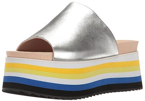 c4978fa082 Shellys London Women's Darci Platform Slide Sandal, Silver, 40 EU/9 ...