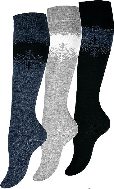 3 Paar Damen Kniestrümpfe schwarz Socken lang Baumwolle Kniestrumpf 35 38 39 42