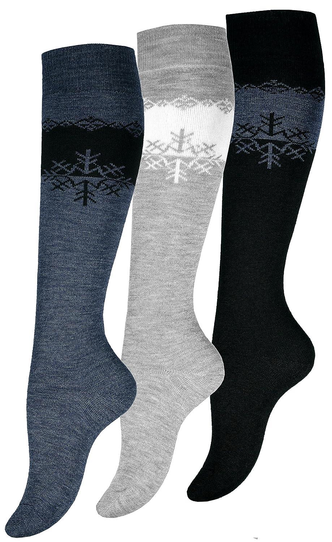 3 paia di calze termiche al ginocchio da donna, calze di alta qualità 4051