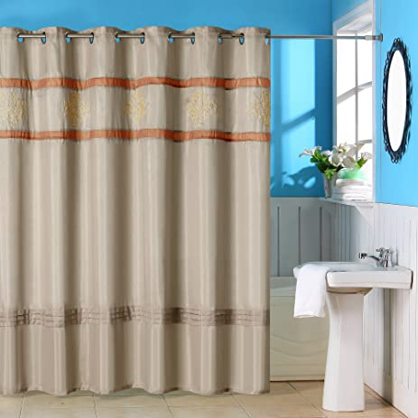 Amazon.com: Bedford Home Radcliff Embroidered Shower Curtain with ...