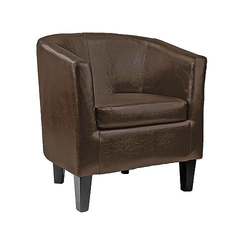 Pleasant Corliving Antonio Tub Chair In Dark Brown Bonded Leather Creativecarmelina Interior Chair Design Creativecarmelinacom