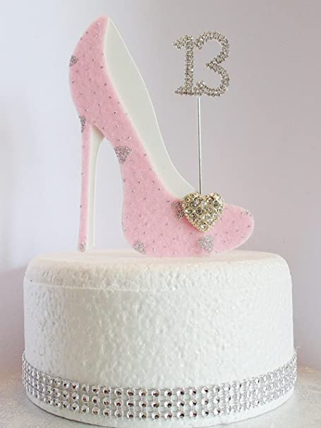 13th Birthday Cake Decoration Shoe With Diamante Number Non Edible Pink Silver Hearts