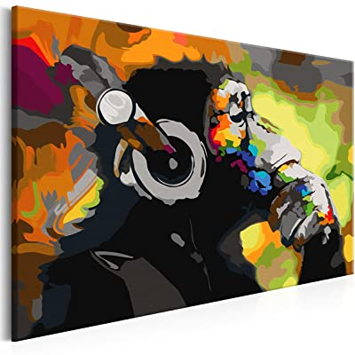 Coloriage Adulte Singe.Murando Peinture Par Numero 2 0 Impression Sur Toile Banksy