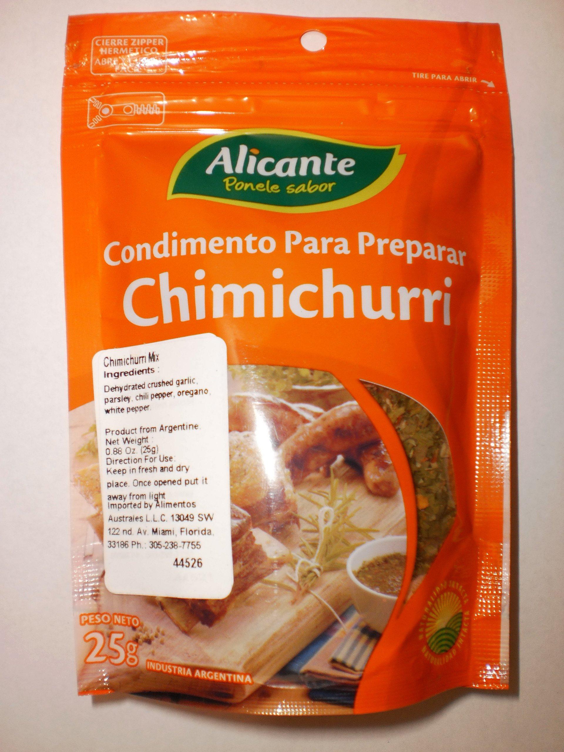 Condimento Para Preparar Chimichurri Alicante Ponele Sabor La Virginia 25g Industria Argentina