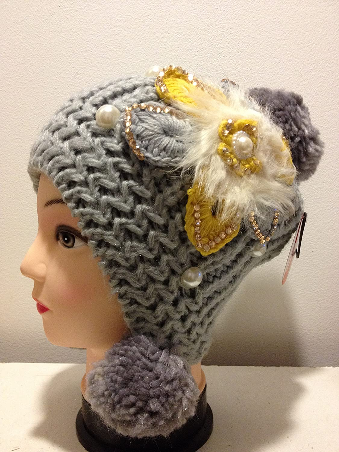 Knitted Pom-pom Ball Beanie Winter Hat Woman Girls - Gray Color
