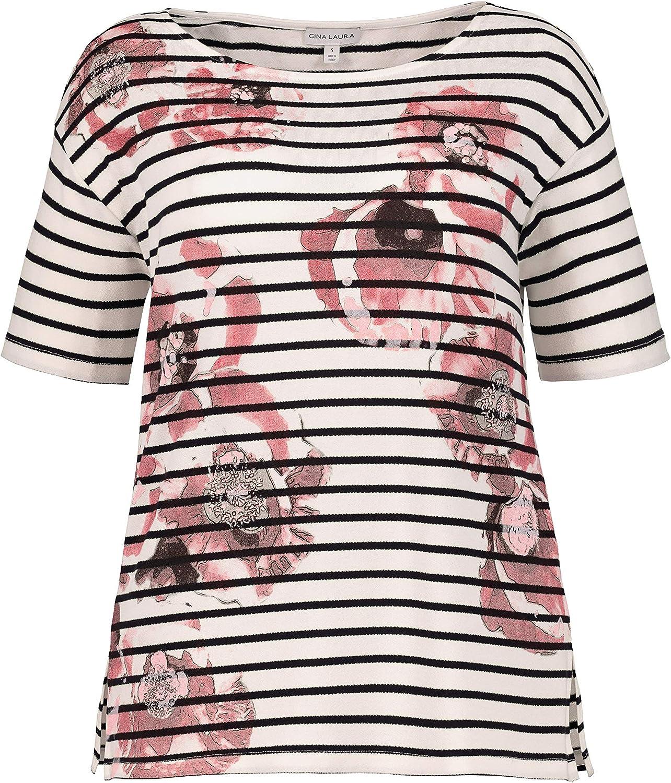TALLA L. GINA LAURA Shirt Oversized Print Streifen Blumen Sudadera para Mujer