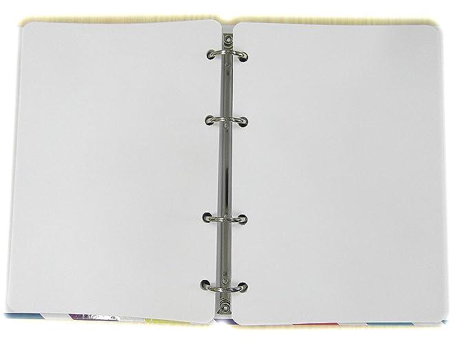 Recambio Agenda con 4 agujeros - Tamaño del papel A5 15x21cm - Paquete de 200 hojas - Papel blanco 120gr