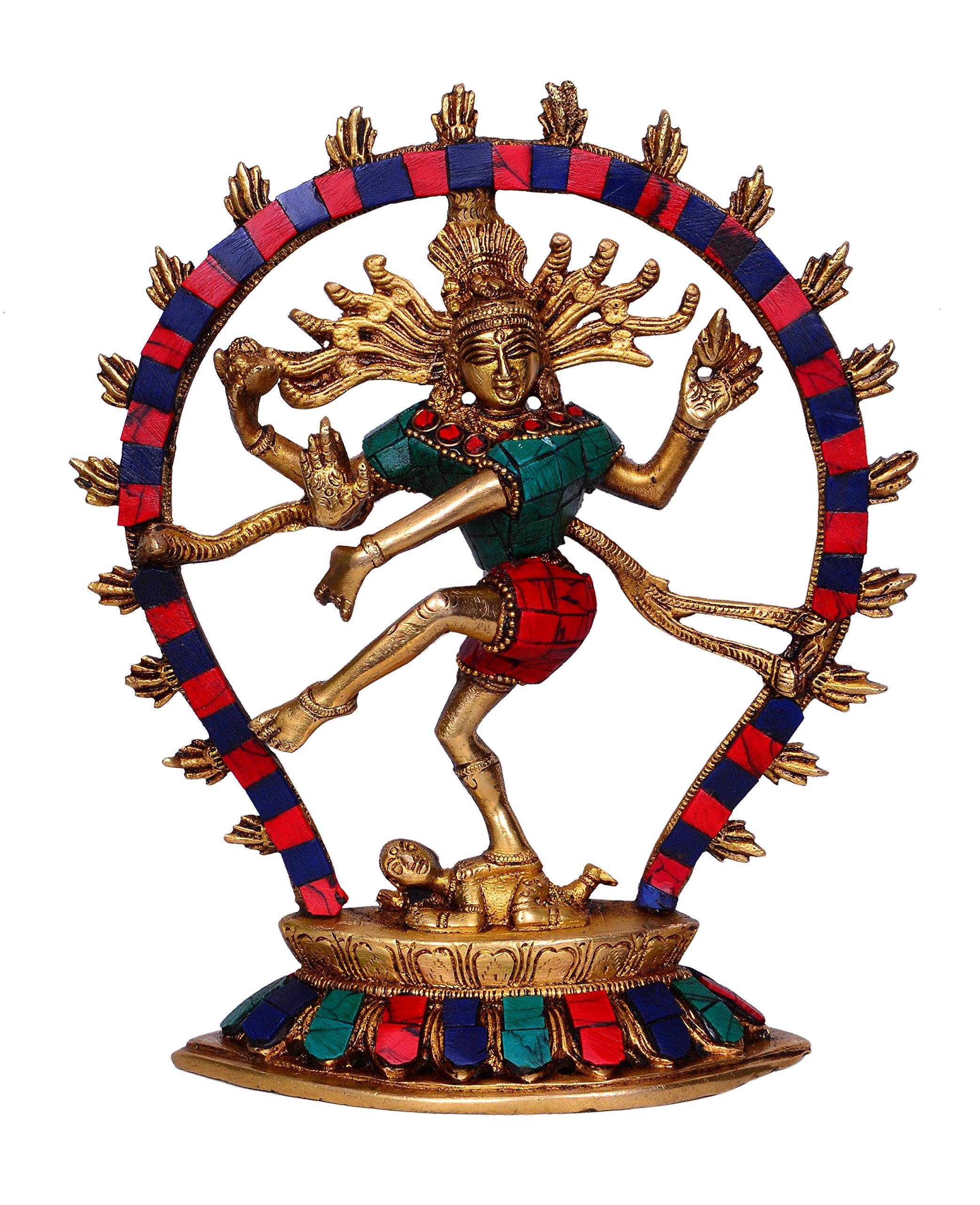 Nataraja Statue Idol: Lord Shiva Siva Mahadev In Dance Mudra For Home Temple Mandir, Made of Pure Brass 8.5 inch (10446)