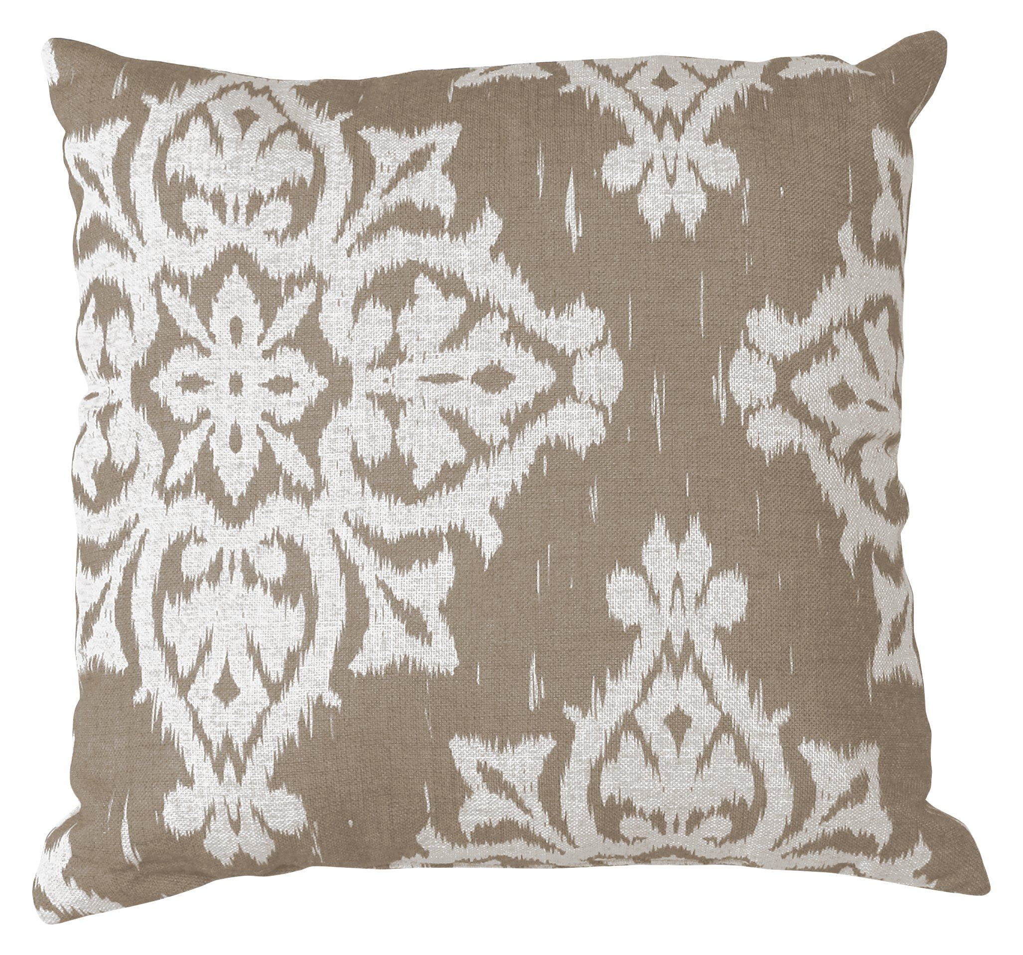 Elrene Home Fashions 026865879315 Decorative Linen Print Couch/Sofa/Bed Cushion Pillow, 18'' x 18'', Taupe