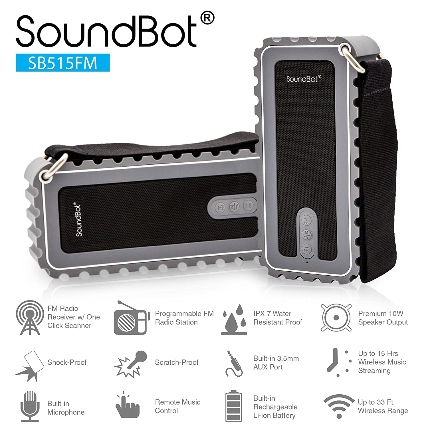 SB515FM Bluetooth Shock Proof Resistant Sound Grey Image 3