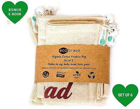 Eco Bravo - Juego de 6 bolsas reutilizables, bolsas de malla ...