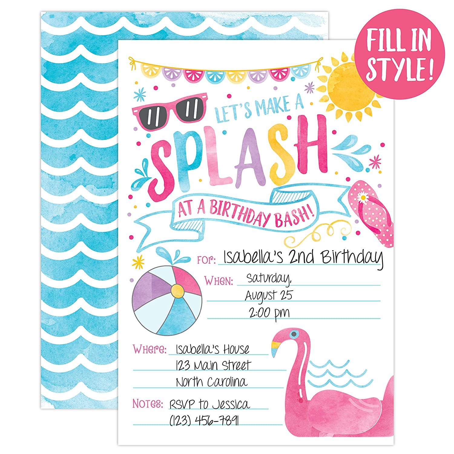 Amazon.com: Girl Pool Party Birthday Invitations, Summer Pool Party ...