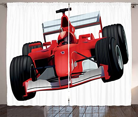 Cars Curtains By Ambesonne Formula Race Car With The Driver Automobile Motorized Sports Theme Strong