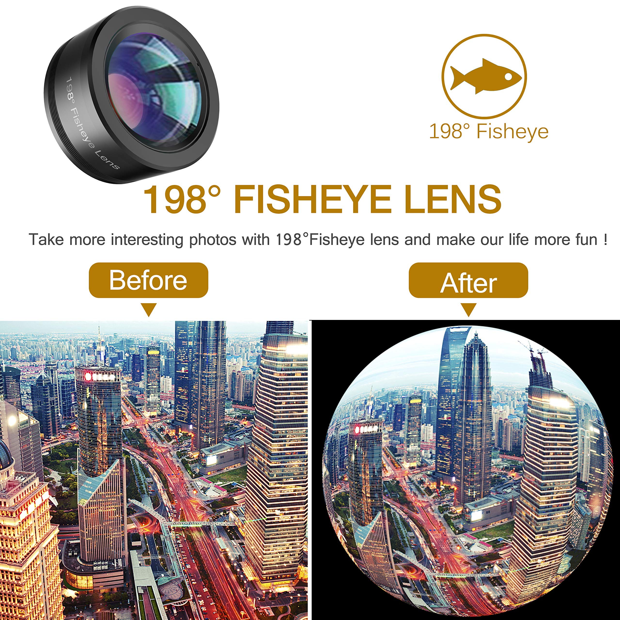 Phone Camera Lens,Upgraded 3 in 1 Phone Lens kit-198° Fisheye Lens + 20X Macro Lens + 120° Wide Angle Lens,Clip on Cell Phone Lens Kits Compatible with iPhone,iPad,Most Android Phones and Smartphones by LEKNES (Image #5)