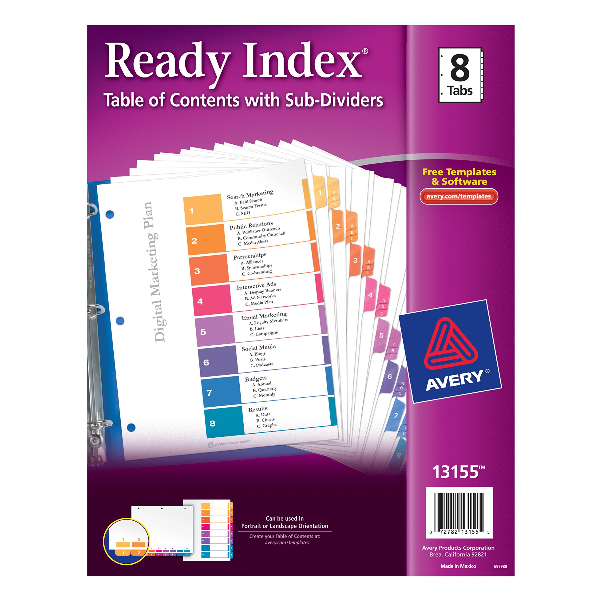 Avery Ready Index Table of Contents Dividers with Sub-Dividers, 8-Tabs per Set with A, B, and C Subsections for Each Numerical Tab (13155) by Avery