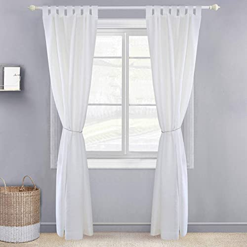 Derf HOME 2 Panels Solid Color White/ Linen Flax Sheer Window Curtains Elegant Window Voile Panels/Drapes/Treatment