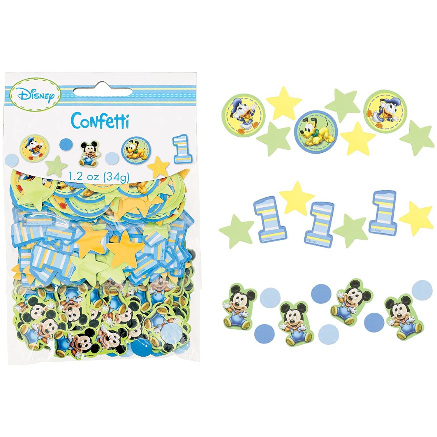 Amazoncom Mickey Mouse 1st Birthday Confetti Value Pack 3 types