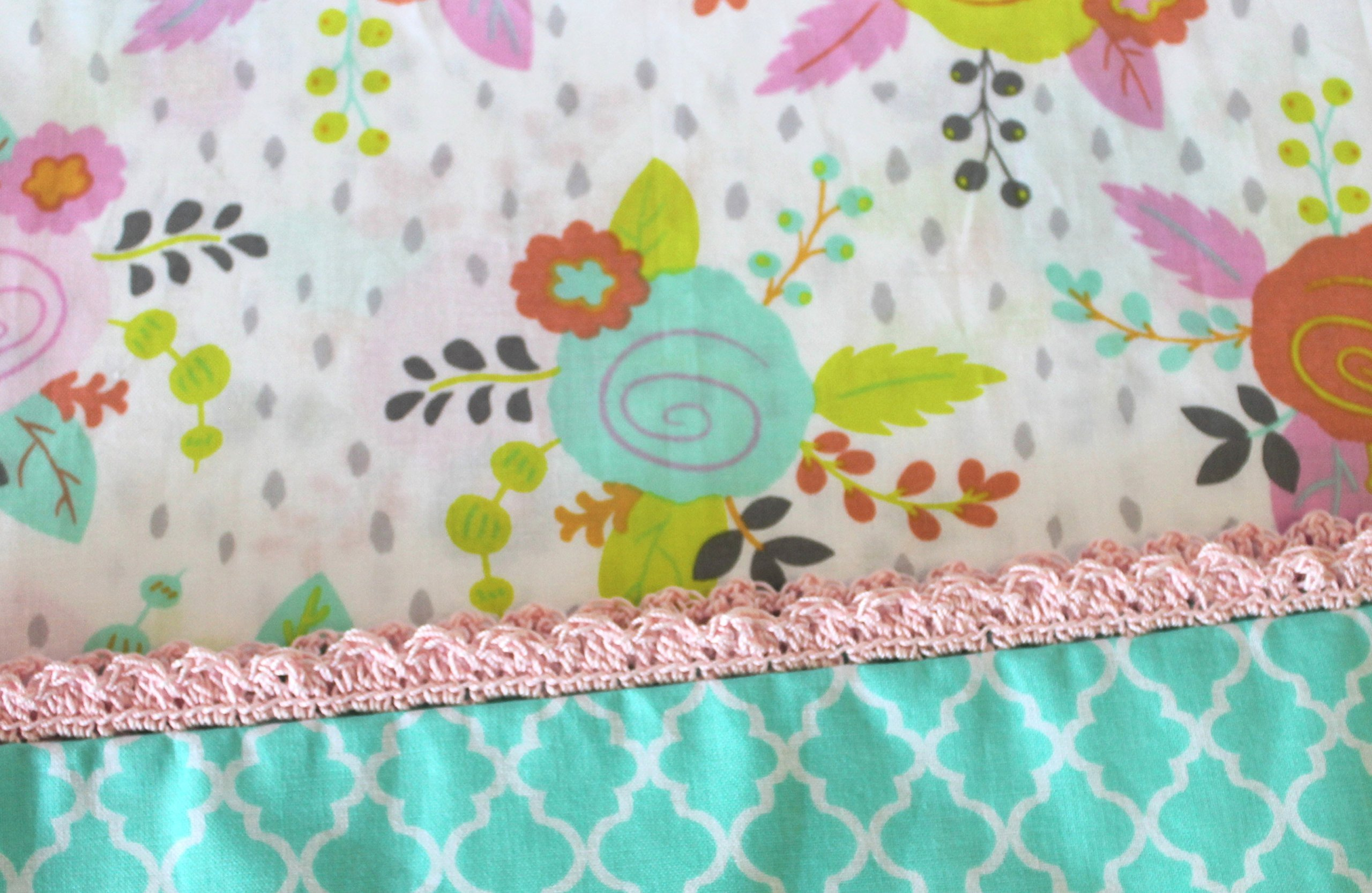 Standard Pillowcase With Crocheted Edge Floral Soft cotton fabric with a quatrefoil print as the hem. Finished off with pink hand crocheted edging. Ready to Ship.