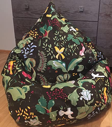 Colorful Bean Bag Chair Natural Fabrics Beanbag Cover Eco Friendly Brown Pouf Animals Print Reading Nook