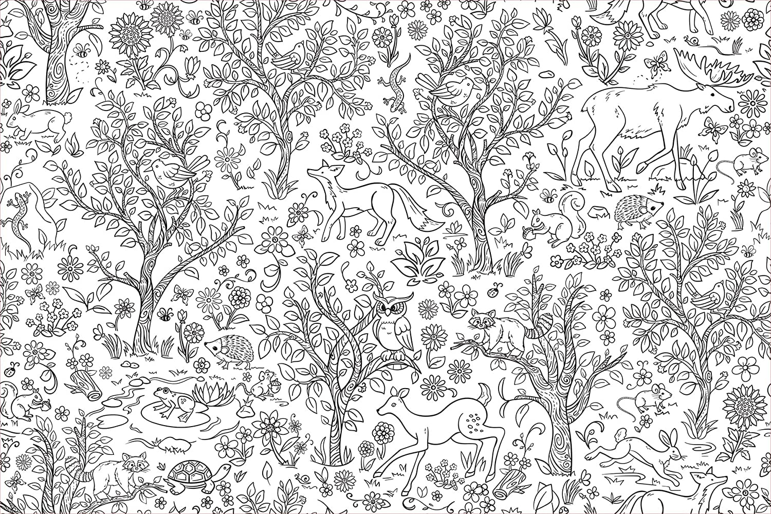 WallPops WPK2185 Wilderness Coloring Wall Decal, White & Off-White