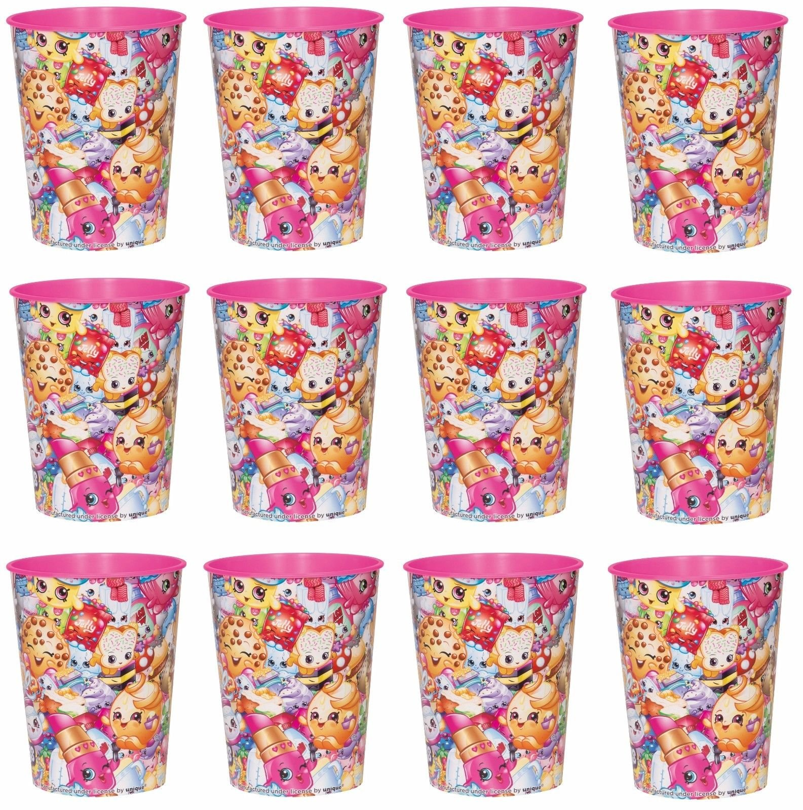 BirthdayExpress Lot of 12 Shopkins 16oz Party Plastic Cup ~Party Favor Supplies~