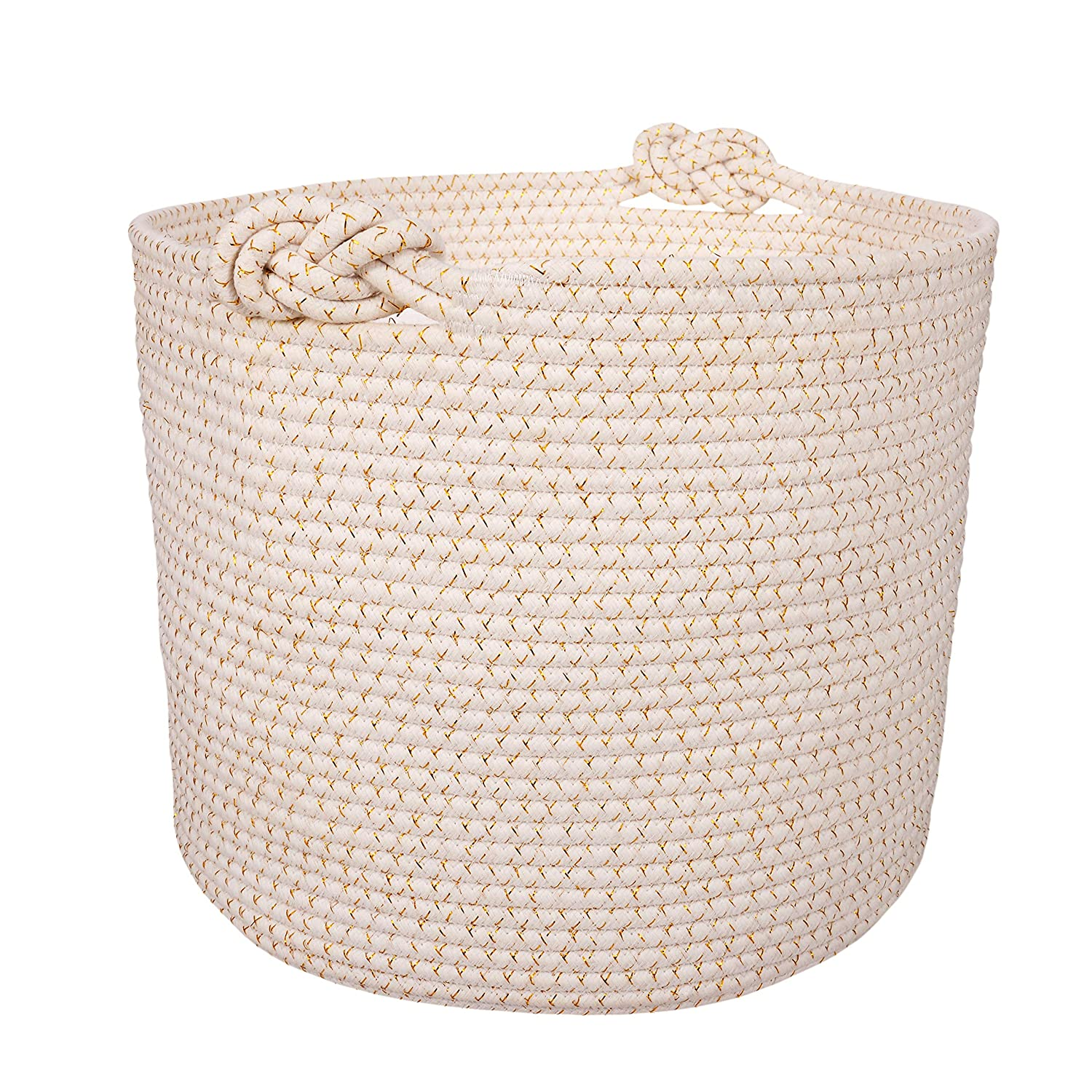 Woven Cotton Rope Storage Basket | Decorative, Elegant & Durable Laundry Hamper | Ergonomic & Multipurpose White Blanket Bin | Stylish & Practical Nursery Organizer | Great Gift Idea - 15