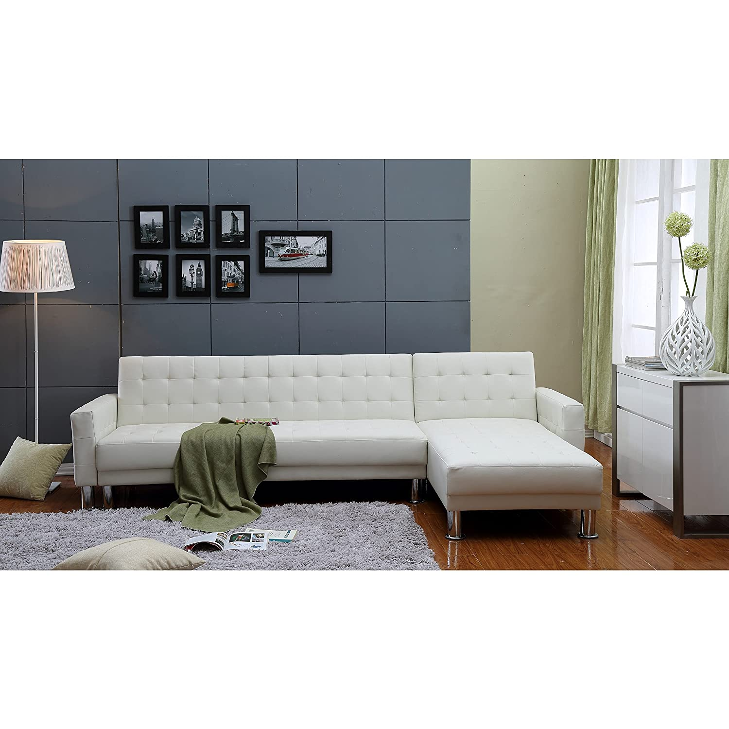 Amazon THY HOM the Hom Marsden 2 piece White Tufted Bi cast