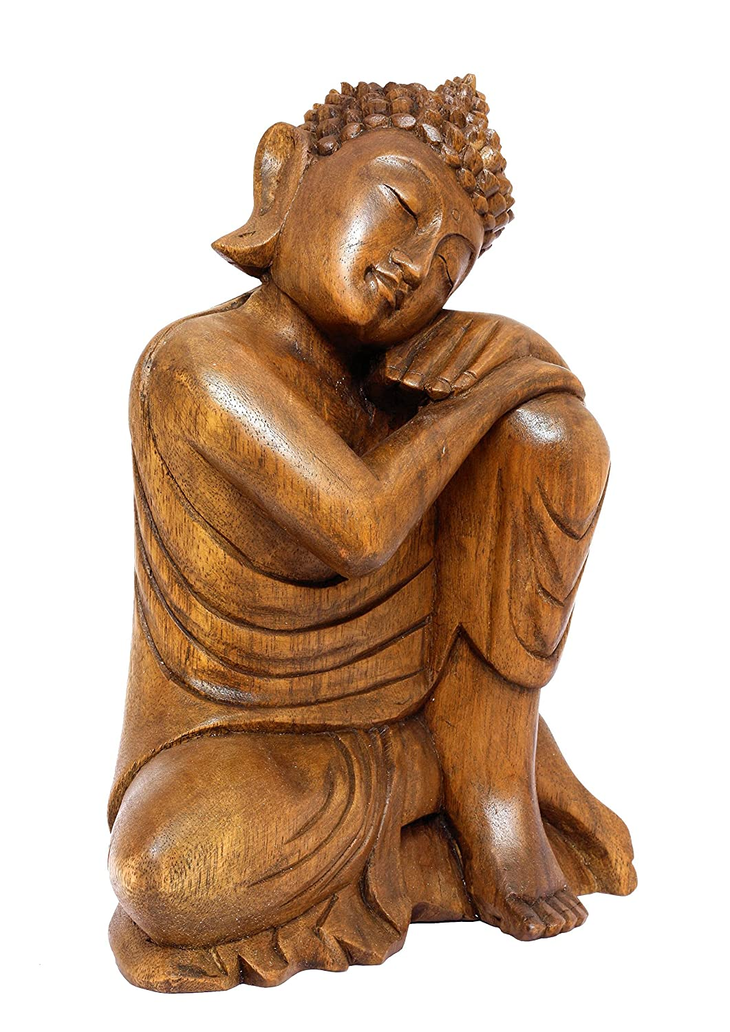 15 Wooden Serene Sleeping Buddha Statue Hand Carved Sculpture Figurine Handmade Home Decor Decorative Accent Traditional Modern Contemporary Handcrafted Art Large
