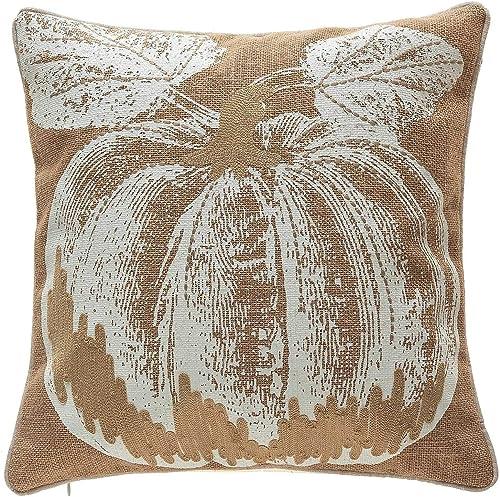 14 Karat Home Thanksgiving Linen Decorative Throw Pillow for Sofa Bench- Pumpkin Printed 18×18, Tan