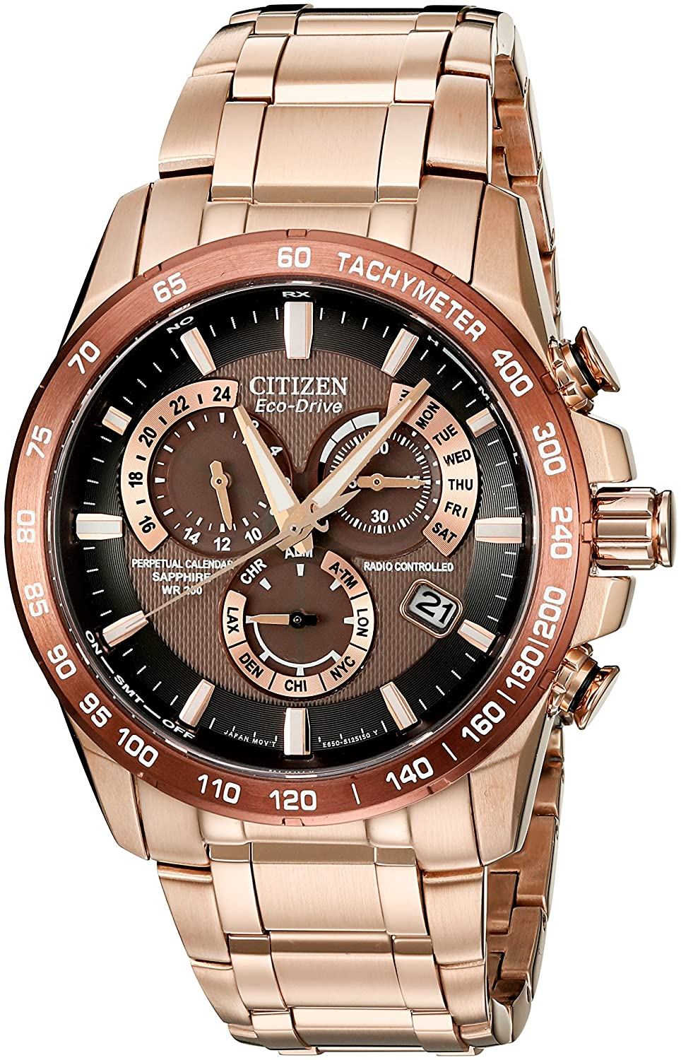 Citizen Mens Eco-Drive Rose Goldtone Perpetual Chrono AT Watch